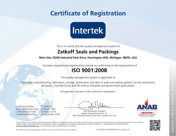 Intertek Certificate of Registration