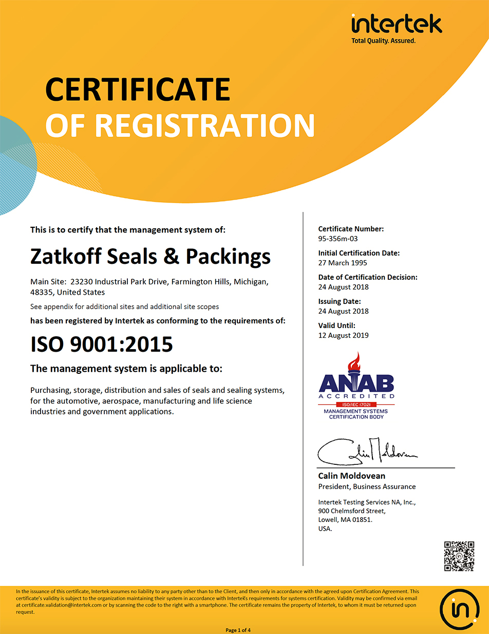 Intertek Certificate of Registration ISO 9001:2015